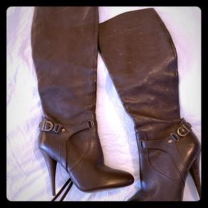 Dark Brown Skinny Calf Real Leather Boots